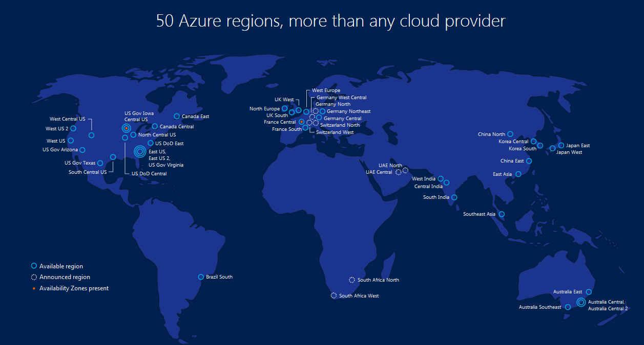 50 Azure Regions